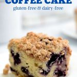 One slice of blueberry coffee cake and a whole pan.