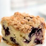 A serving of blueberry coffee-cake made with a gluten-free recipe.