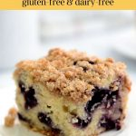 A single serving of blueberry coffee cake made with a gluten-free recipe.