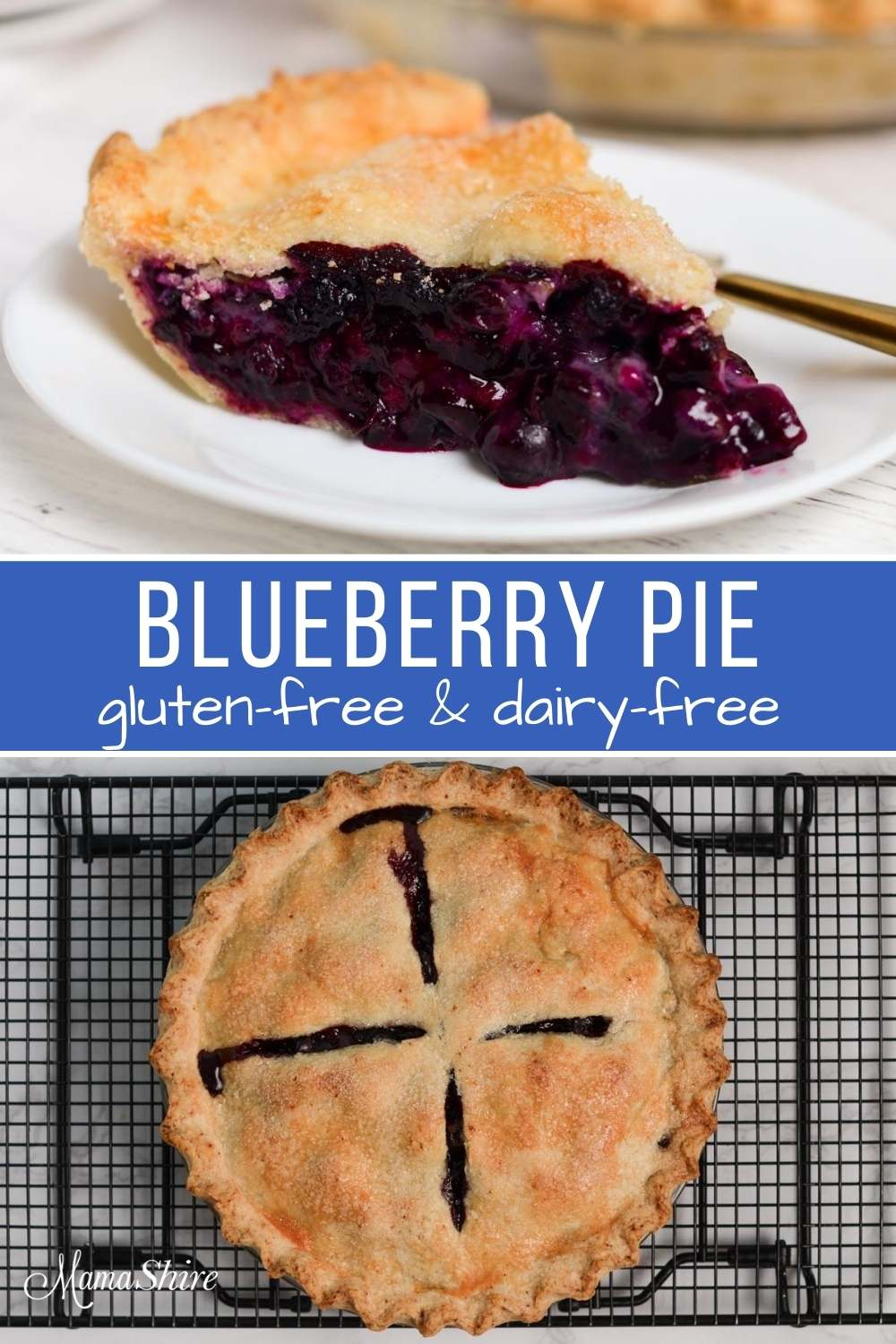 Top picture is one slice of pie, bottom picture is the whole blueberry pie freshly baked.