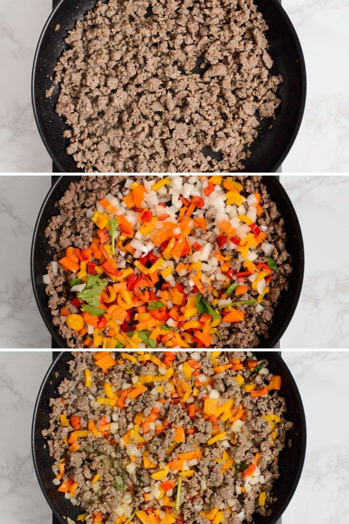 Steps to make a sausage breakfast skillet - brown sausage, add chopped pepper and onions, and fry.