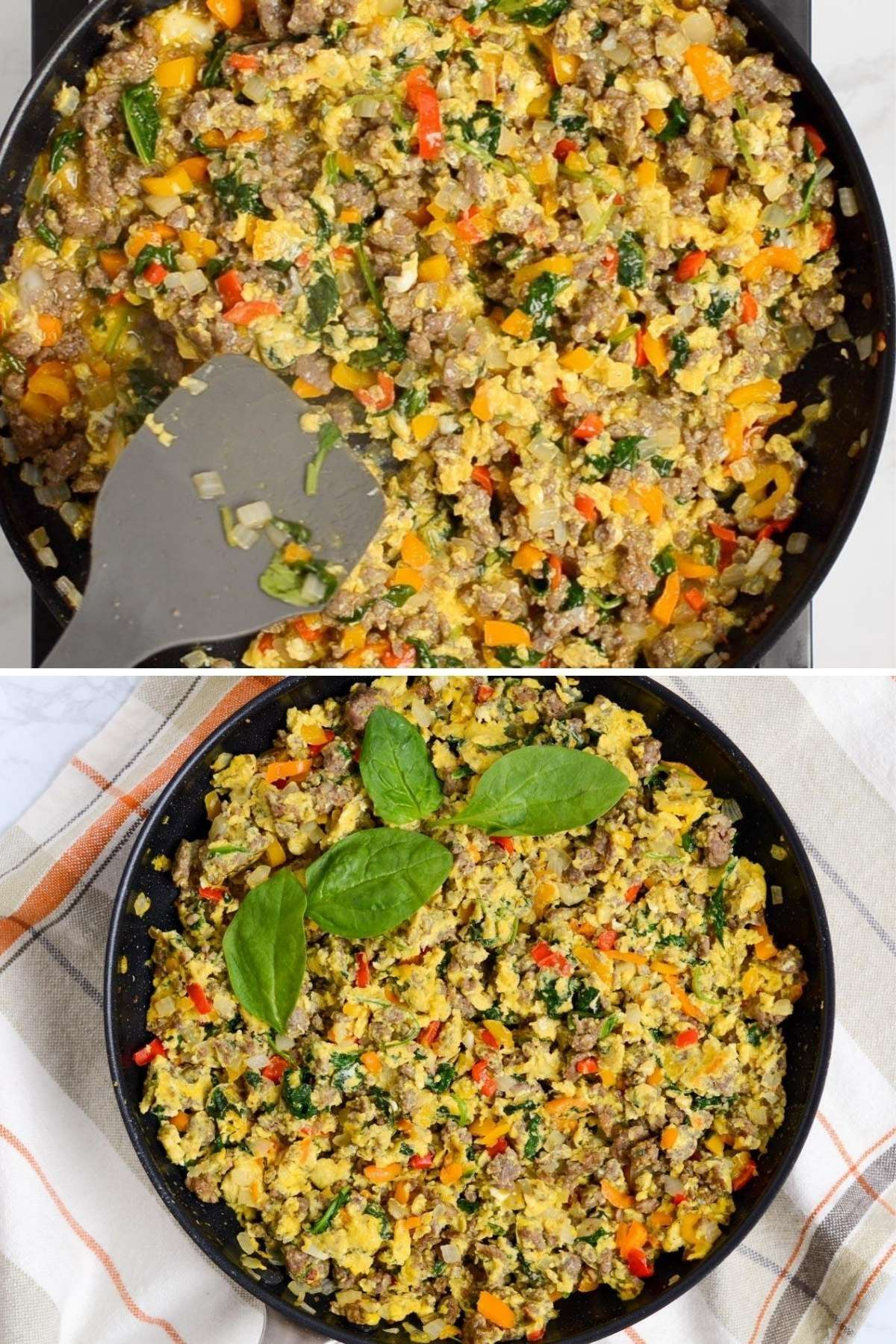Finishing up frying breakfast in a skillet and the finished dish in the bottom picture with some spinach leaves for extra flair.