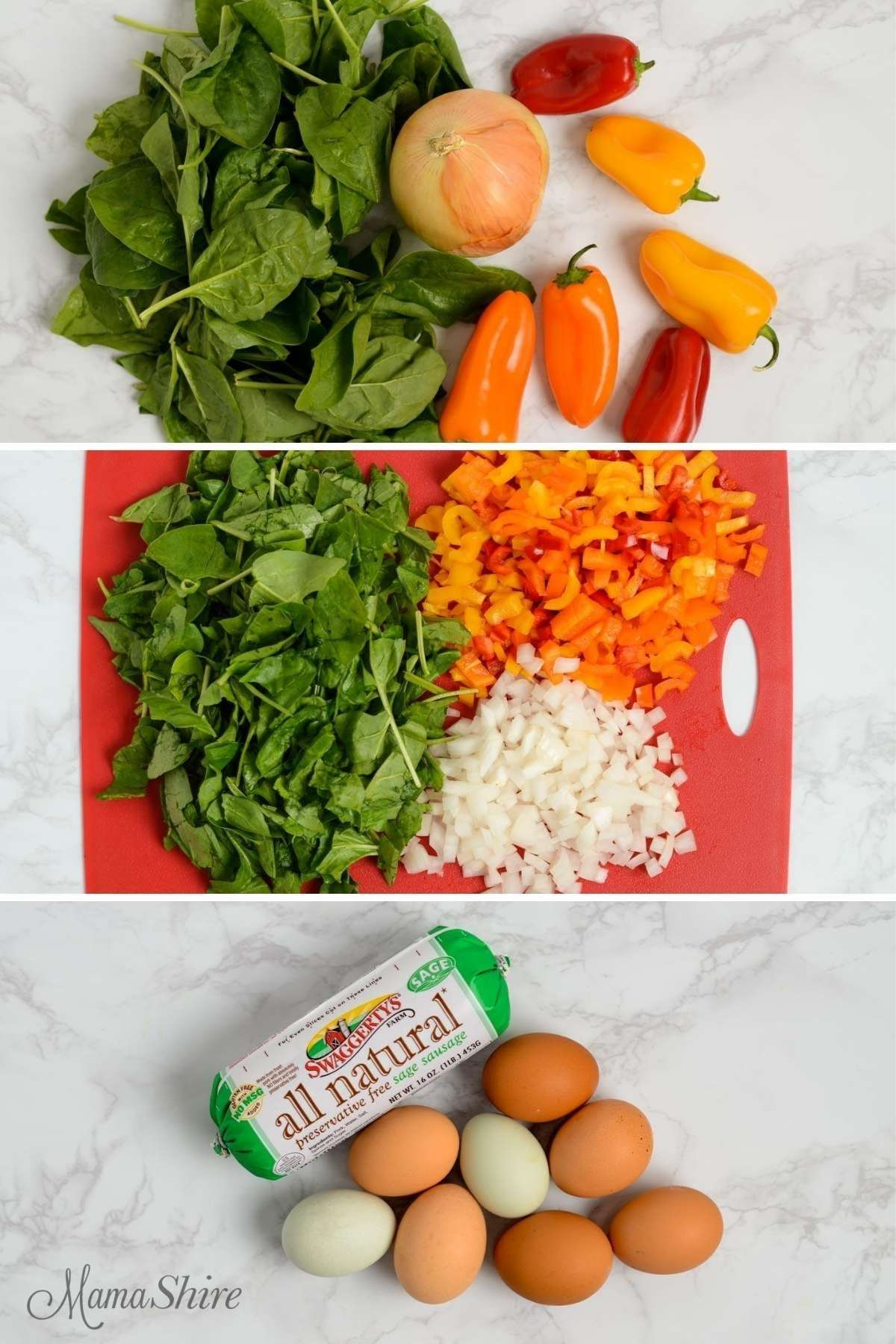 Ingredients for a delicious breakfast -- spinach, peppers, onion, sausage, and eggs.