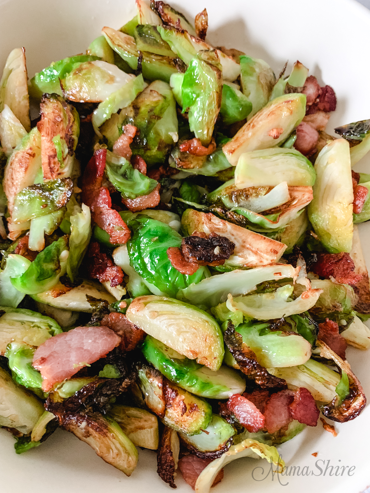 Brussels sprouts in a skillet.