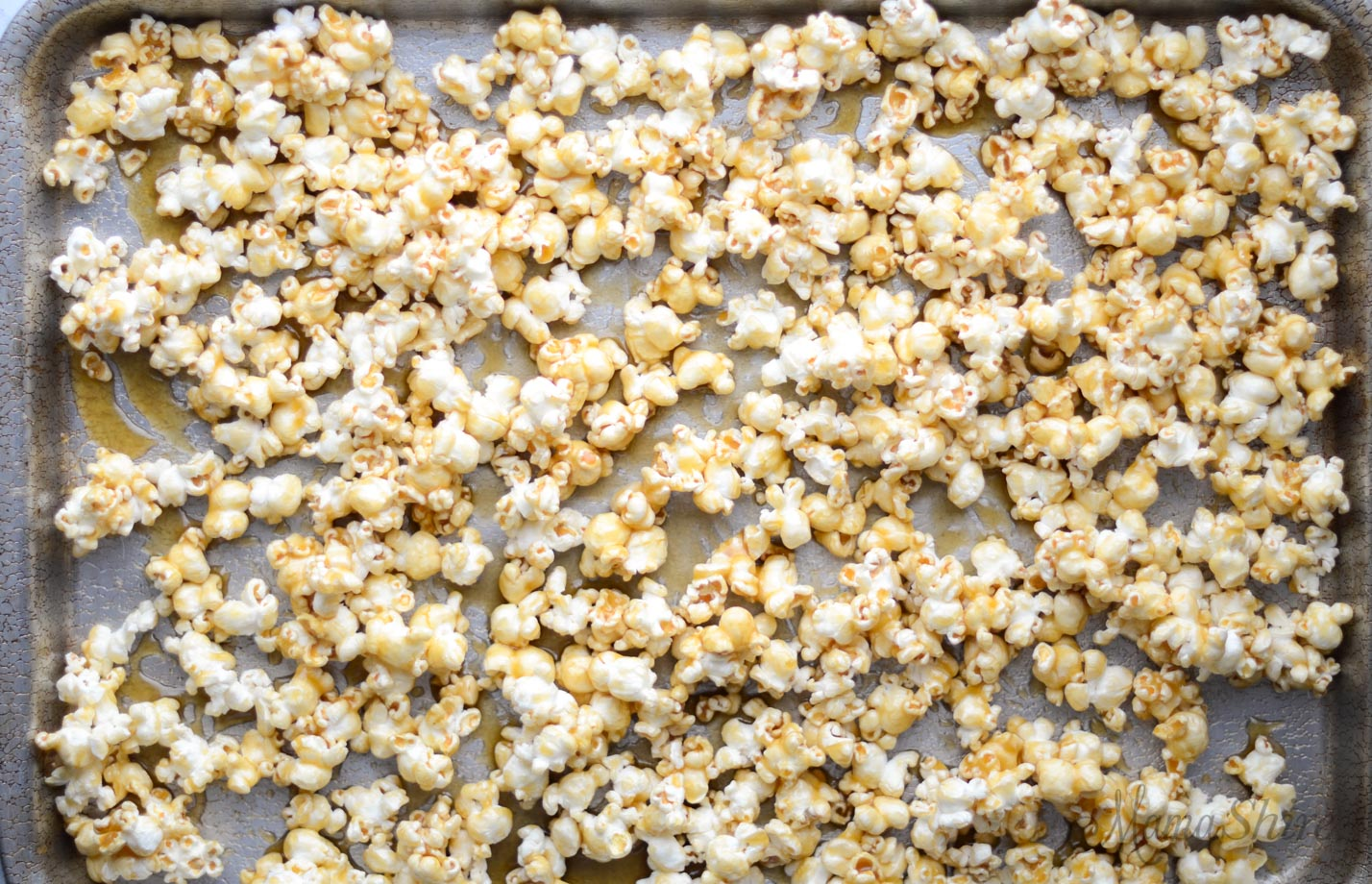 Homemade caramel corn before being baked.
