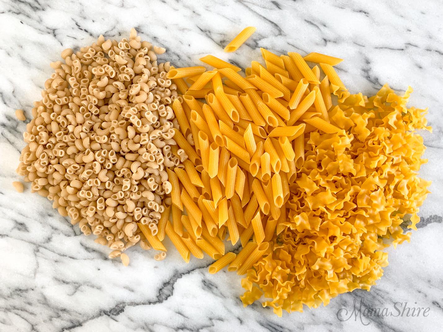 Three types of gluten-free pasta.