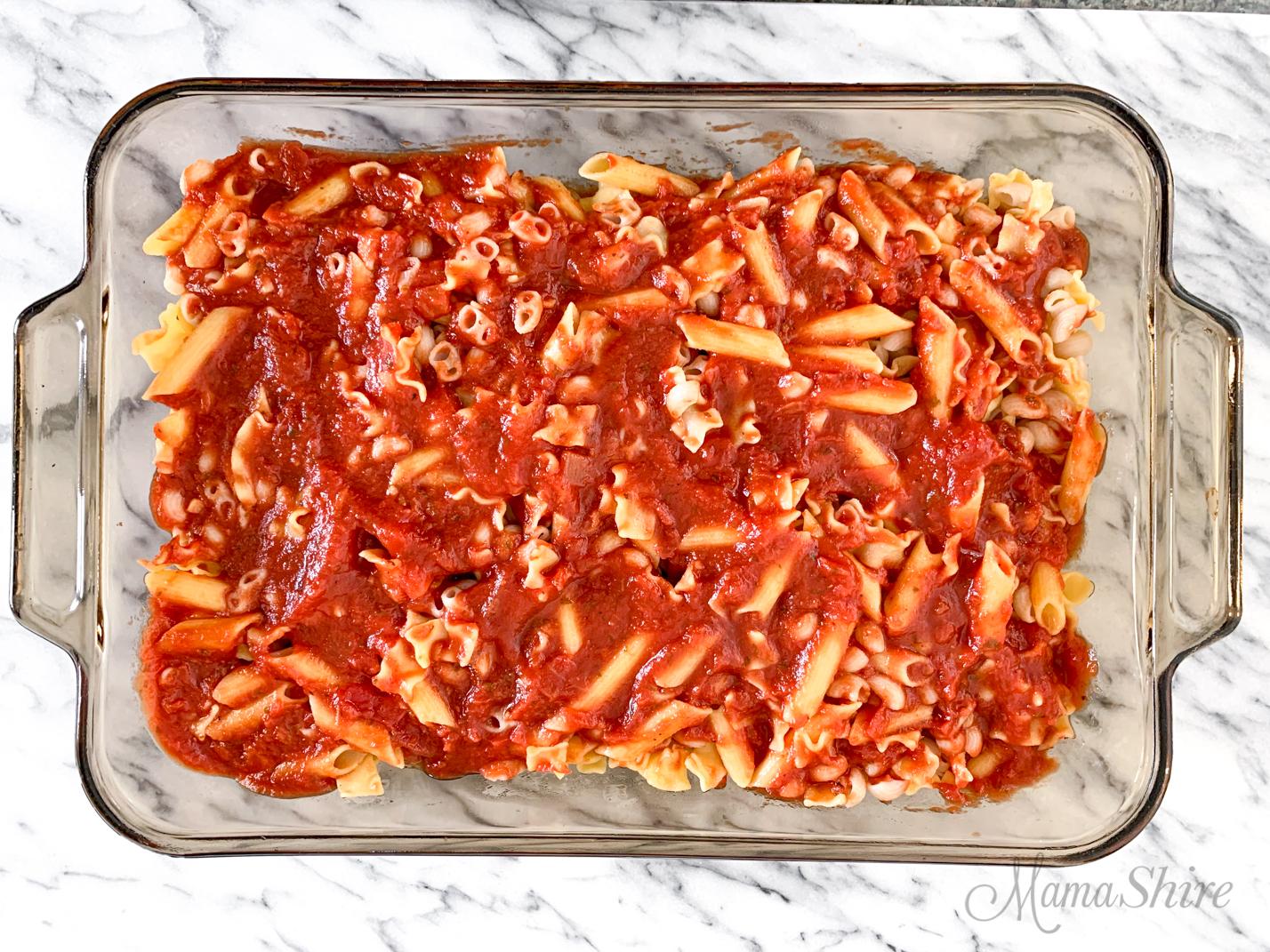 Three types of gluten-free pasta with spaghetti sauce for a gluten-free cavatini.