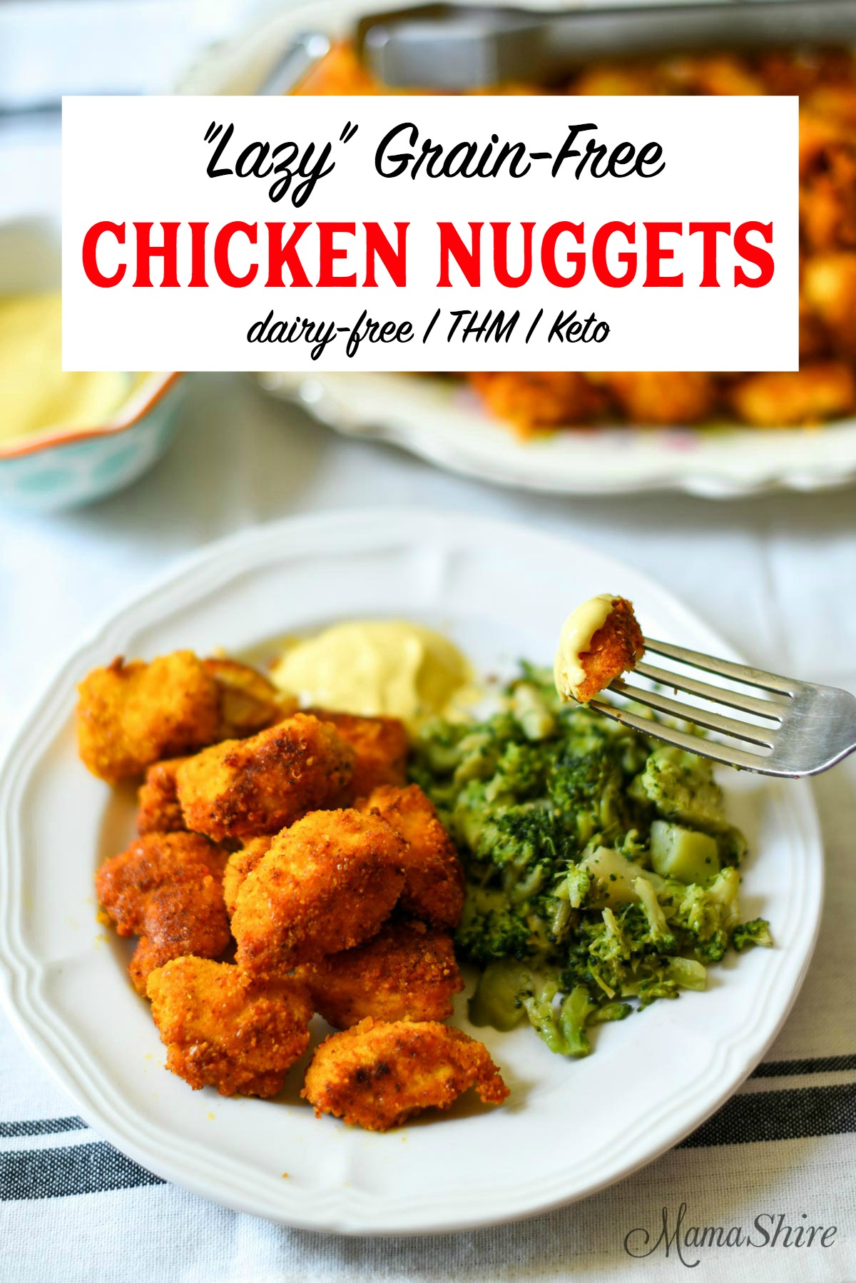 Lazy Grain-free chicken nuggets served with broccoli.