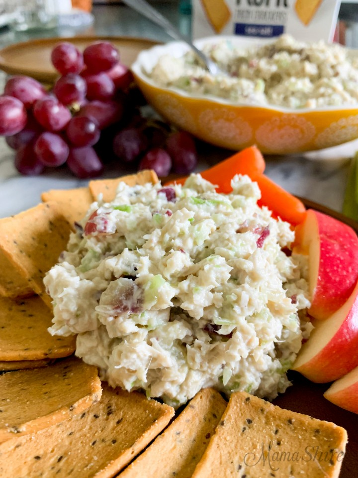 Chicken salad made with grapes and celery.