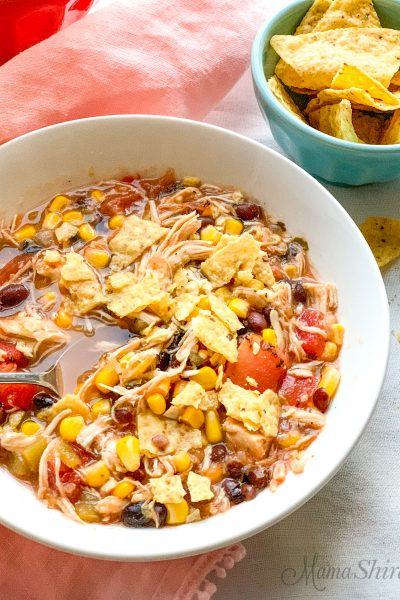 Chicken Taco Soup with salsa verde and tortilla chips.