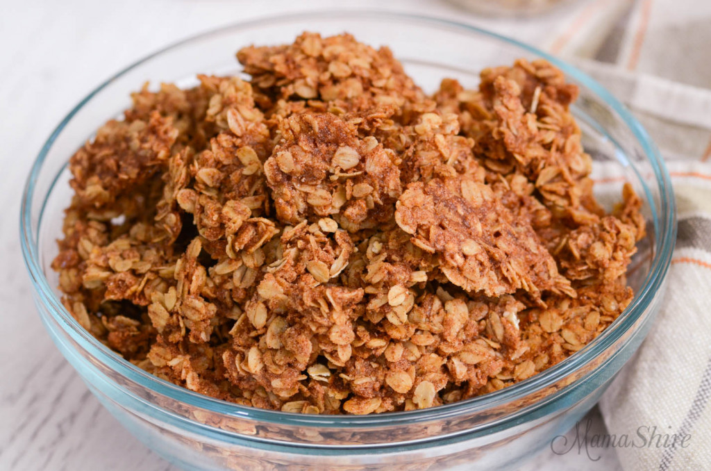 A glass bowl of gluten-free and dairy-free granola.