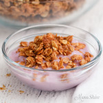 A small bowl of blueberry dairy-free yogurt sprinkled on top with cinnamon granola.