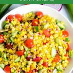 A bowl of easy corn salad.