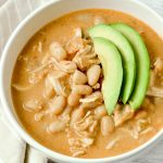 Creamy white chicken chili made with a dairy-free recipe.