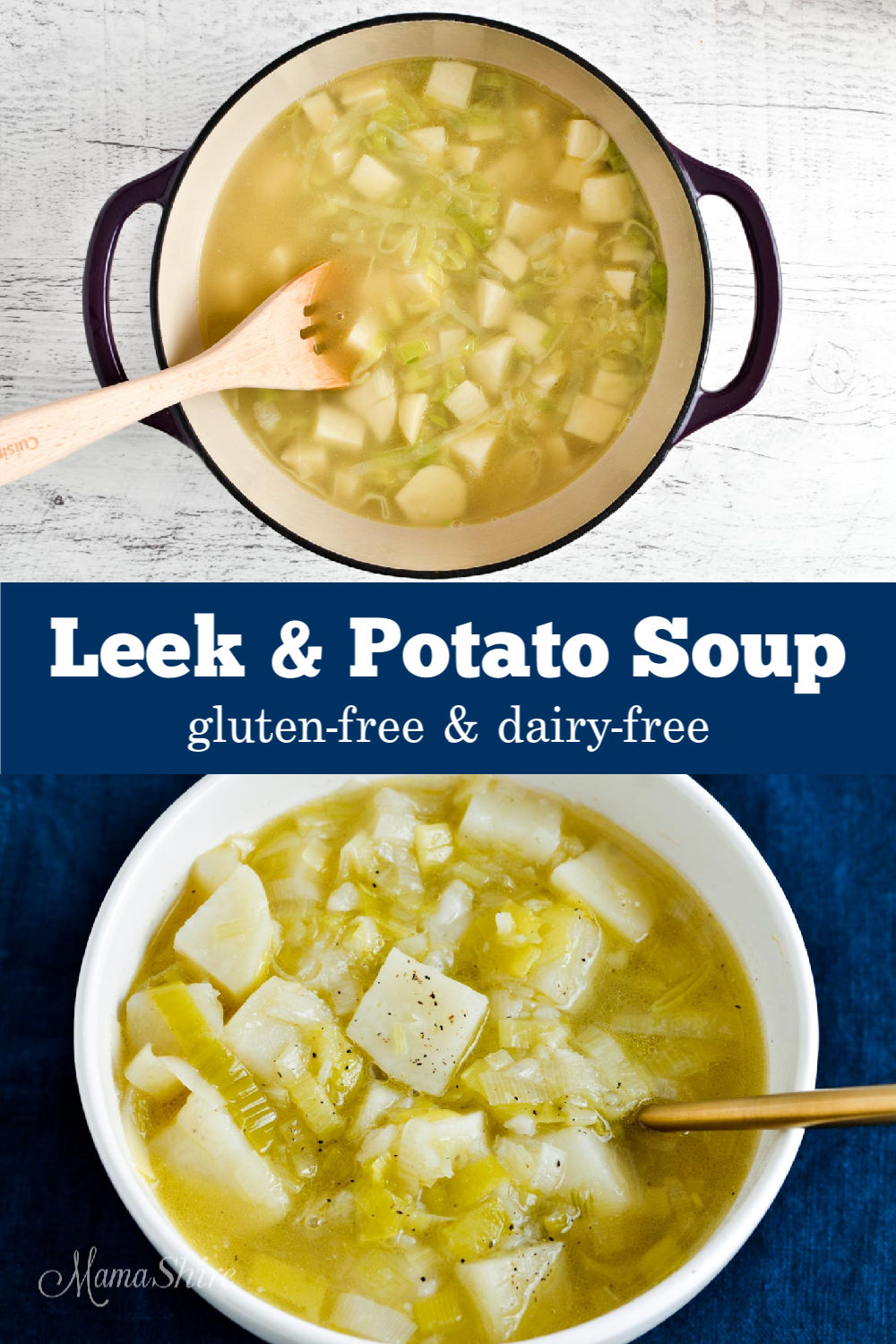 A pot of dairy-free leek and potato soup.