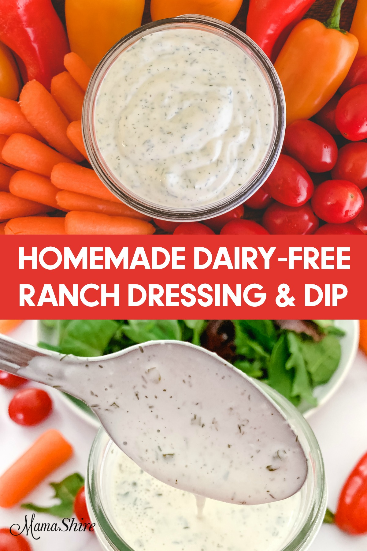 Dairy-free ranch dressing and dip with carrots, tomatoes, peppers, and salads.