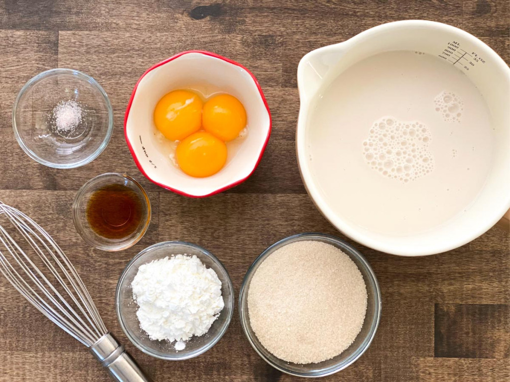 Ingredients to make homemade dairy-free vanilla pudding.
