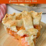 Gluten-free peach pie slice.