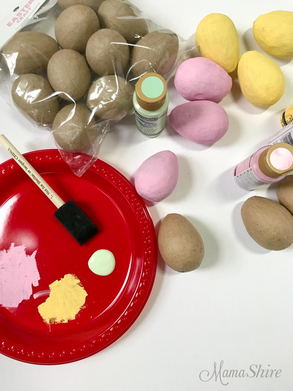 Painting eggs for an Easter Wreath