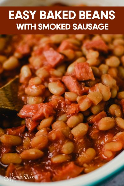 Baked beans made with gluten-free smoked sausage.