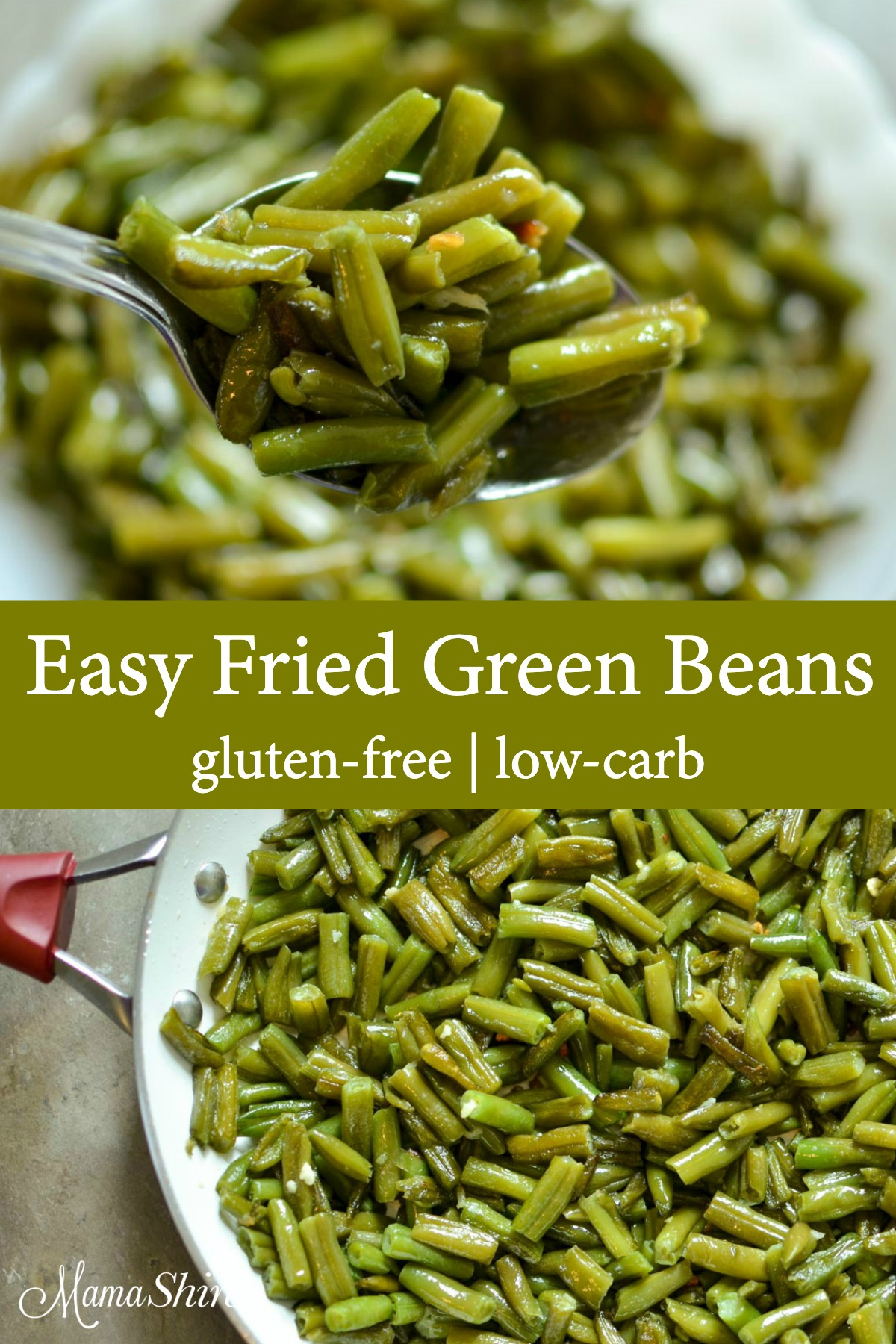 Green beans that were fried in a skillet made from an easy fried green beans recipe.
