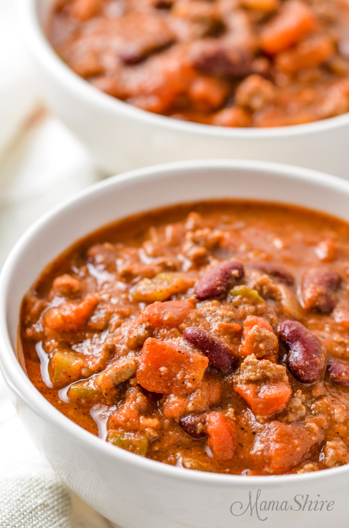 Two bowls of gluten-free chili