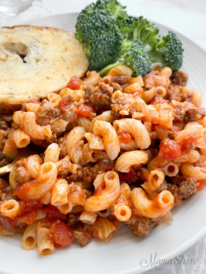A serving of American goulash made gluten-free.