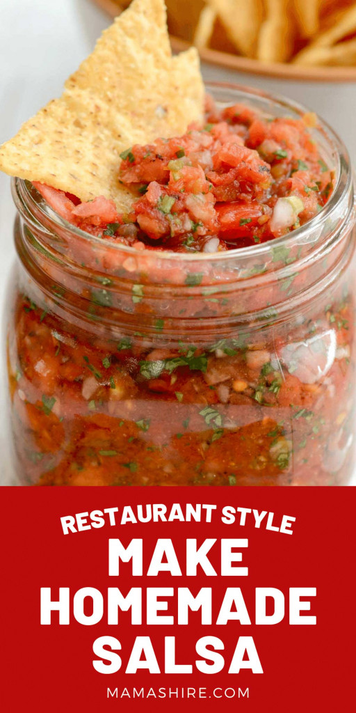 A jar of easy and delicious homemade salsa in a ball jar with a tortilla chip sticking out the top.