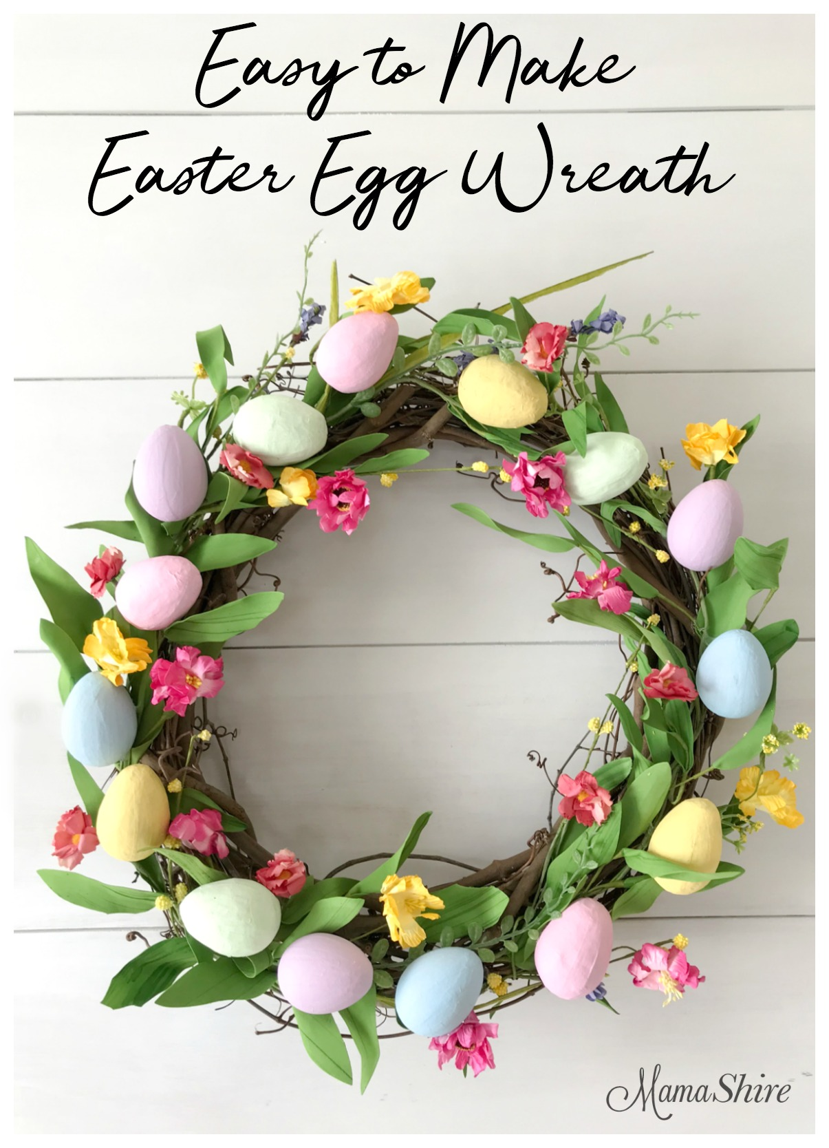 An adorable homemade Easter Egg Wreath