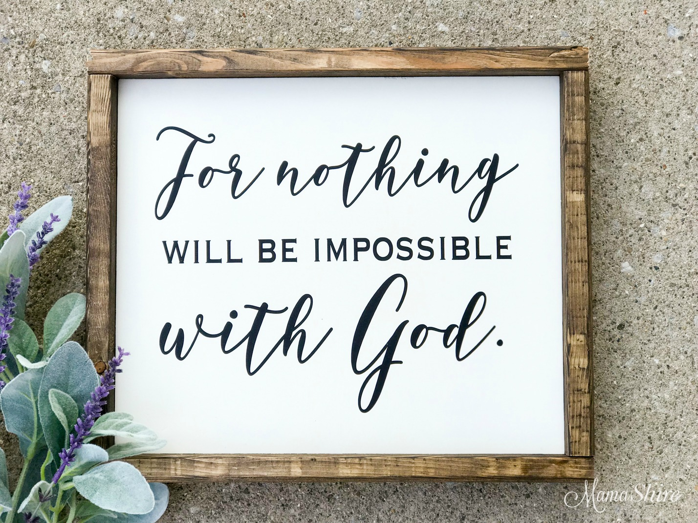 Nothing will be impossible with God wood sign made with an SVG cut file.