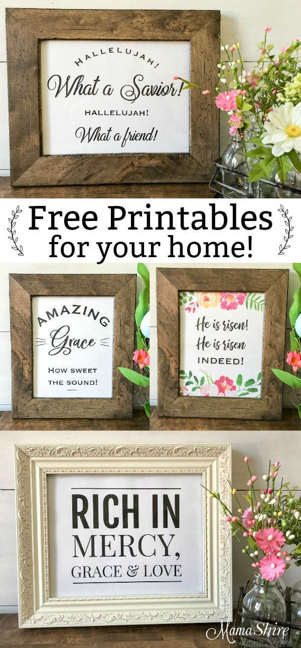 Free printables for your home. Four different prints with a Christian message.