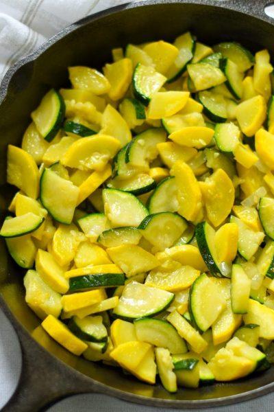 Fried summer squash and zucchini.
