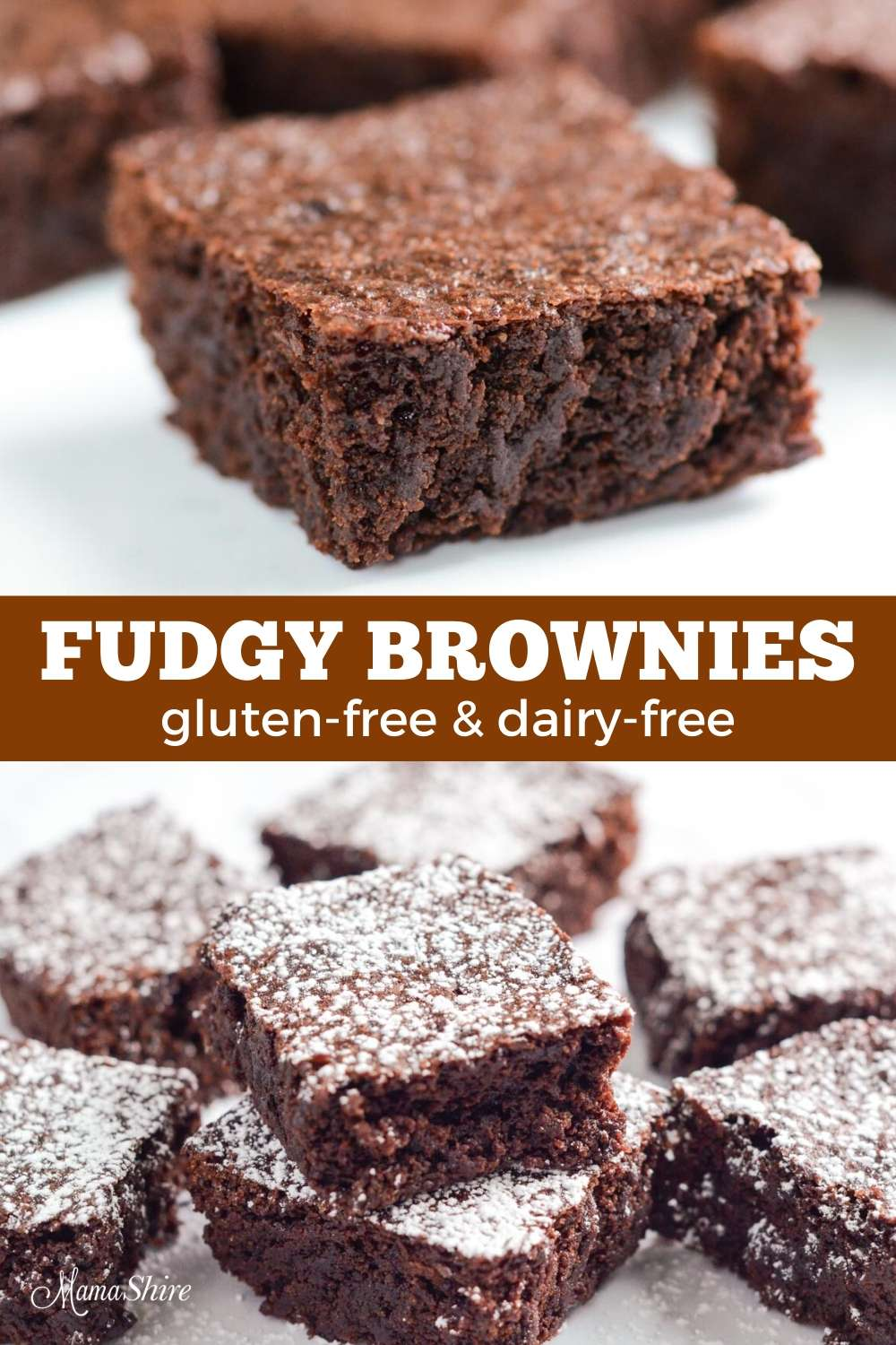 Homemade brownies made from a gluten-free & dairy-free recipe
