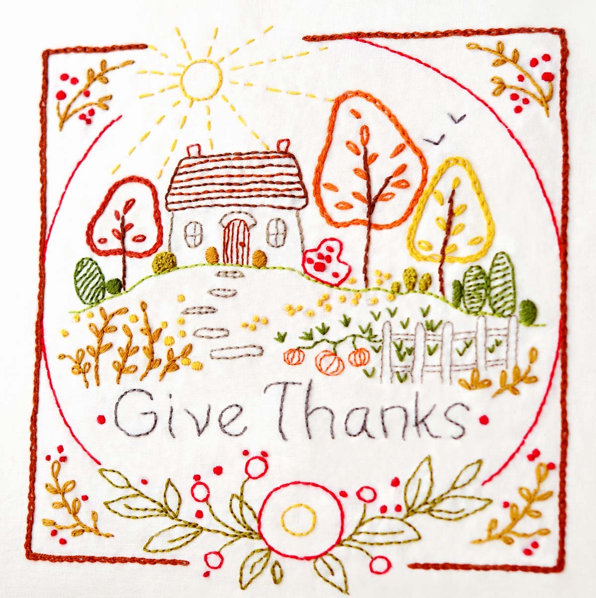 Give Thanks Embroidery Kit by Clementine Patterns.