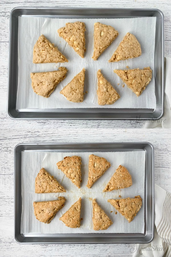 Baking pan lined with parchment paper with gluten-free apple cinnamon scones
