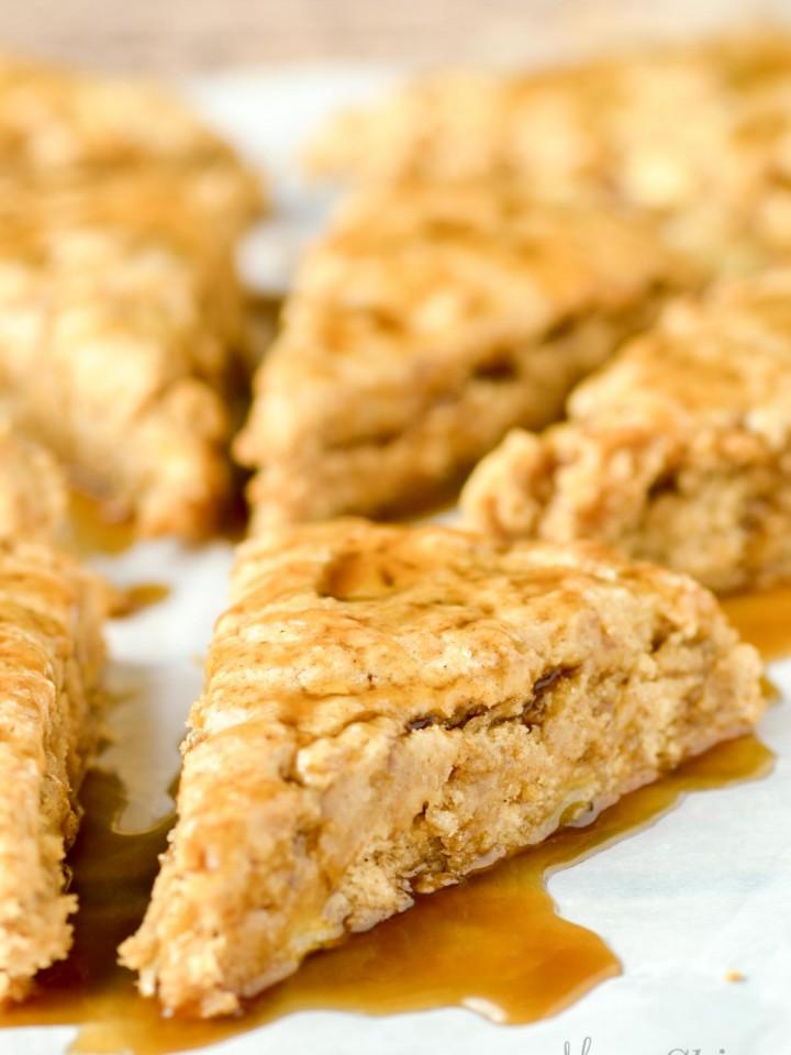 Gluten-free apple cinnamon scones with caramel sauce.