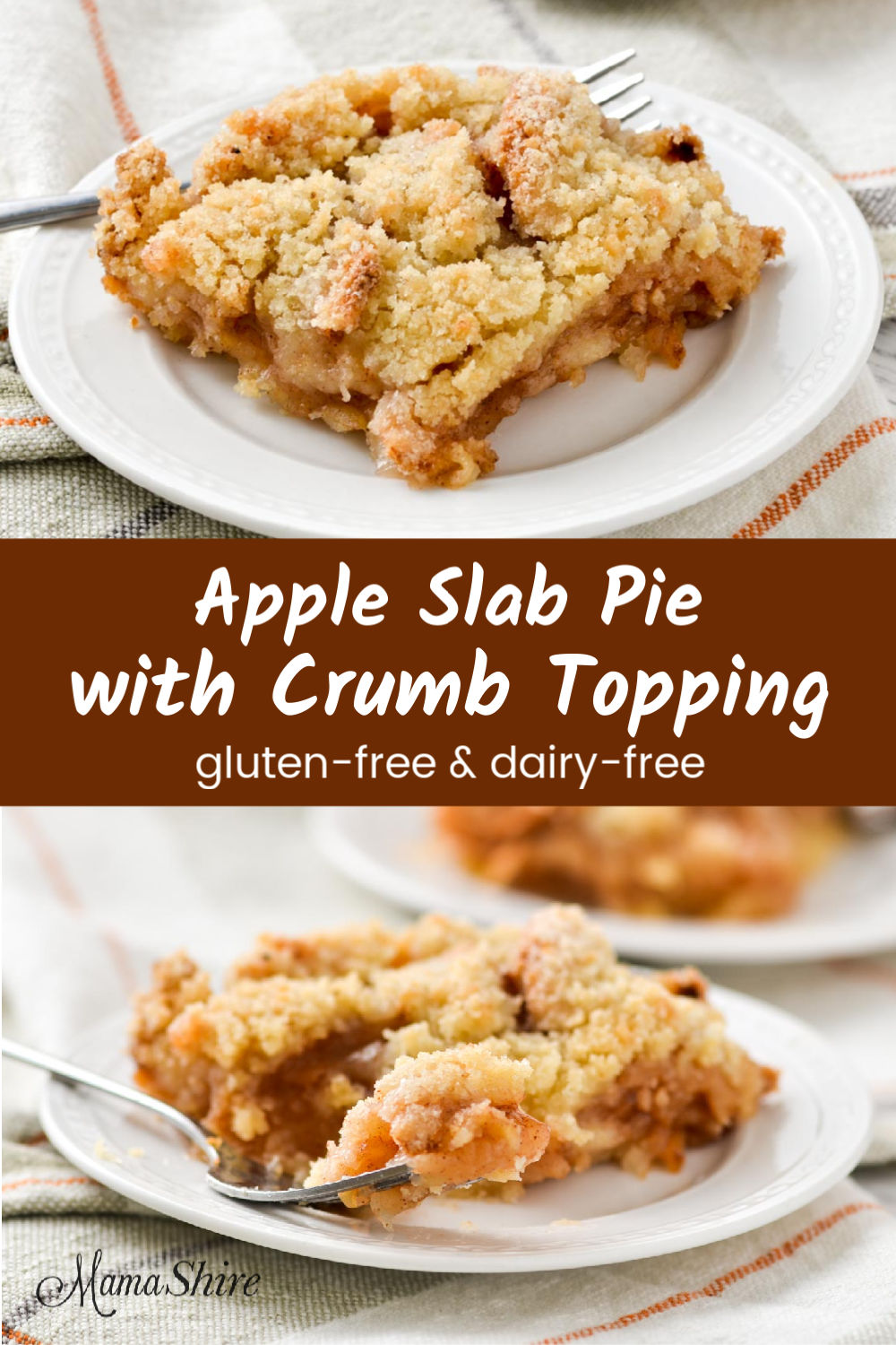 Apple slab pie with crumb topping.