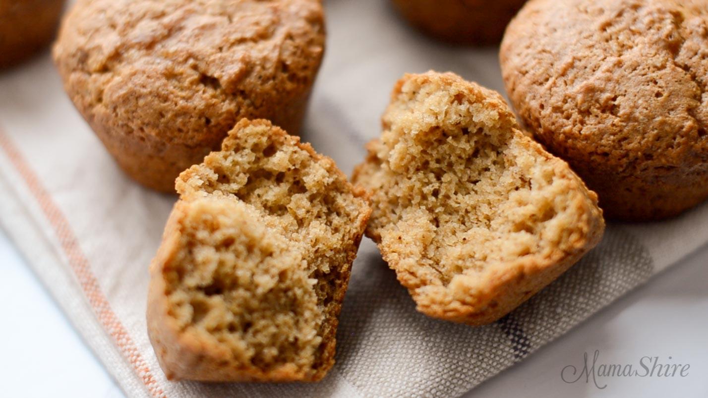 Moist gluten-free applesauce muffins.