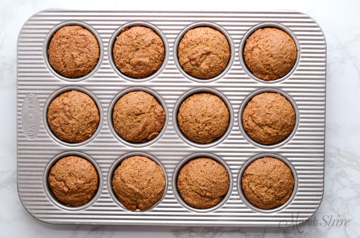 Freshly baked gluten-free applesauce muffins.