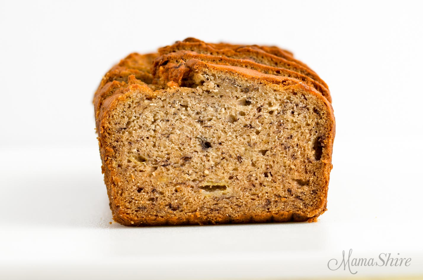 A slice of gluten-free banana bread.