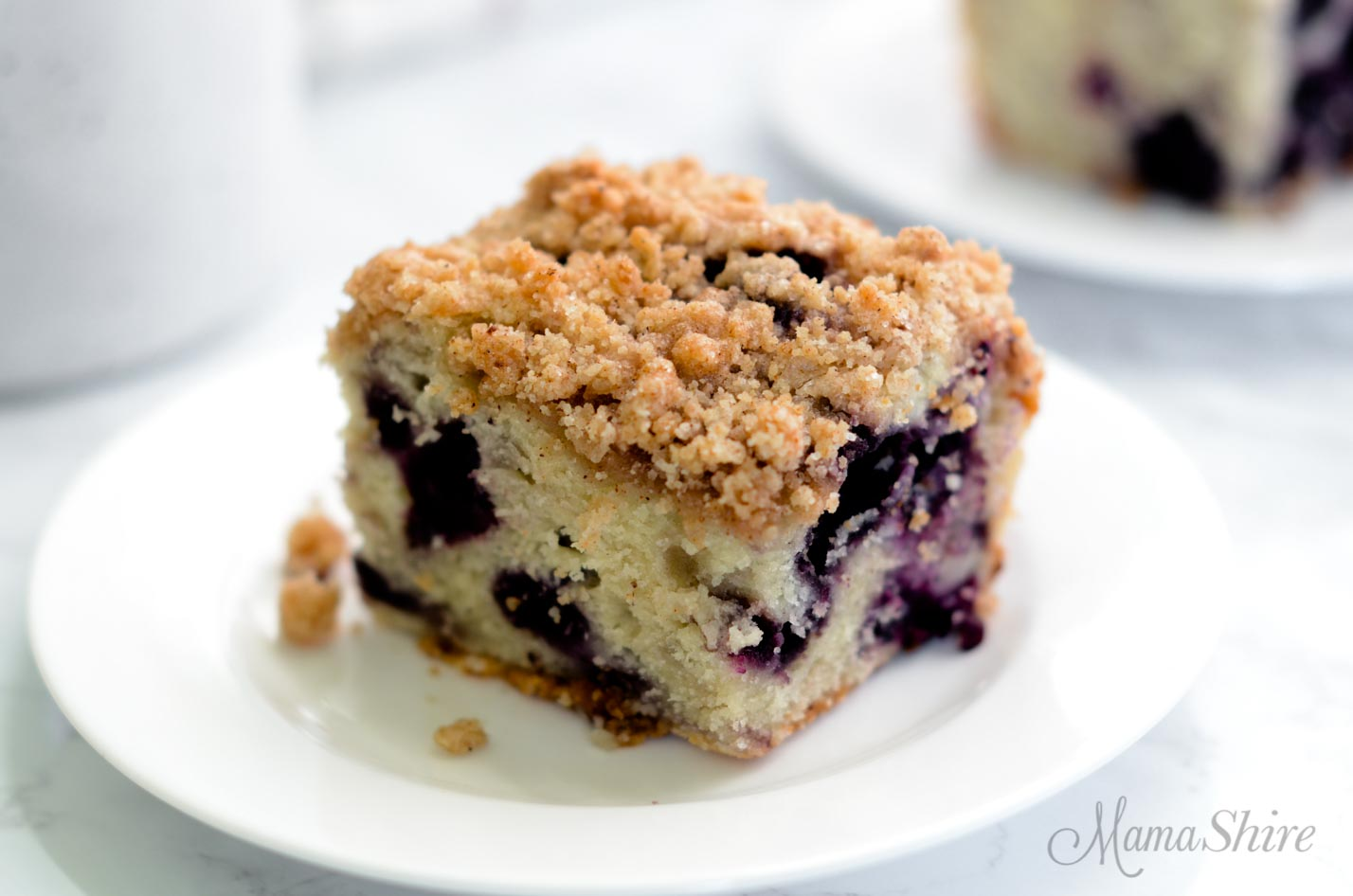 Coffee cake with blueberries.