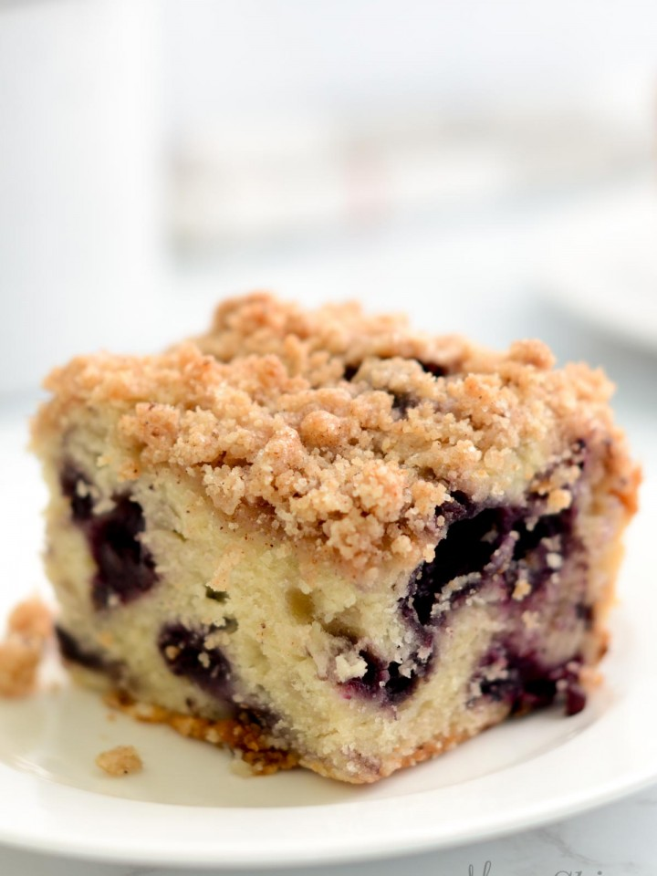 Blueberries and cinnamon streusel topping in a gluten-free coffee cake.