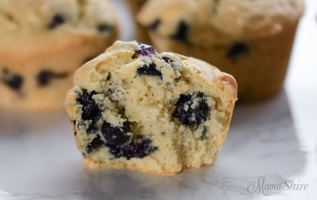 A tender and moist blueberry muffin made with a gluten-free dairy-free recipe that has been cut in half.