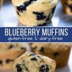 Top picture is closeup of a gluten-free blueberry muffin the bottom picture with half of the muffin broke off so you can see the inside.