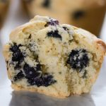 Inside of a blueberry muffin