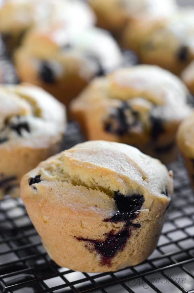 blueberry muffins cooling on a wire rack