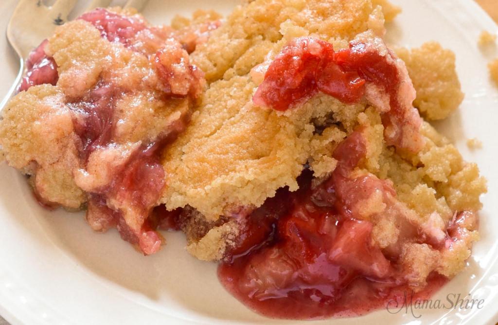 Close up of a fruity dump cake.