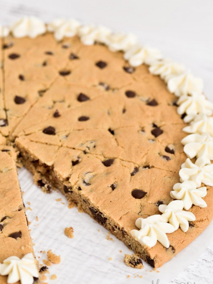 Giant gluten-free cookie pizza.