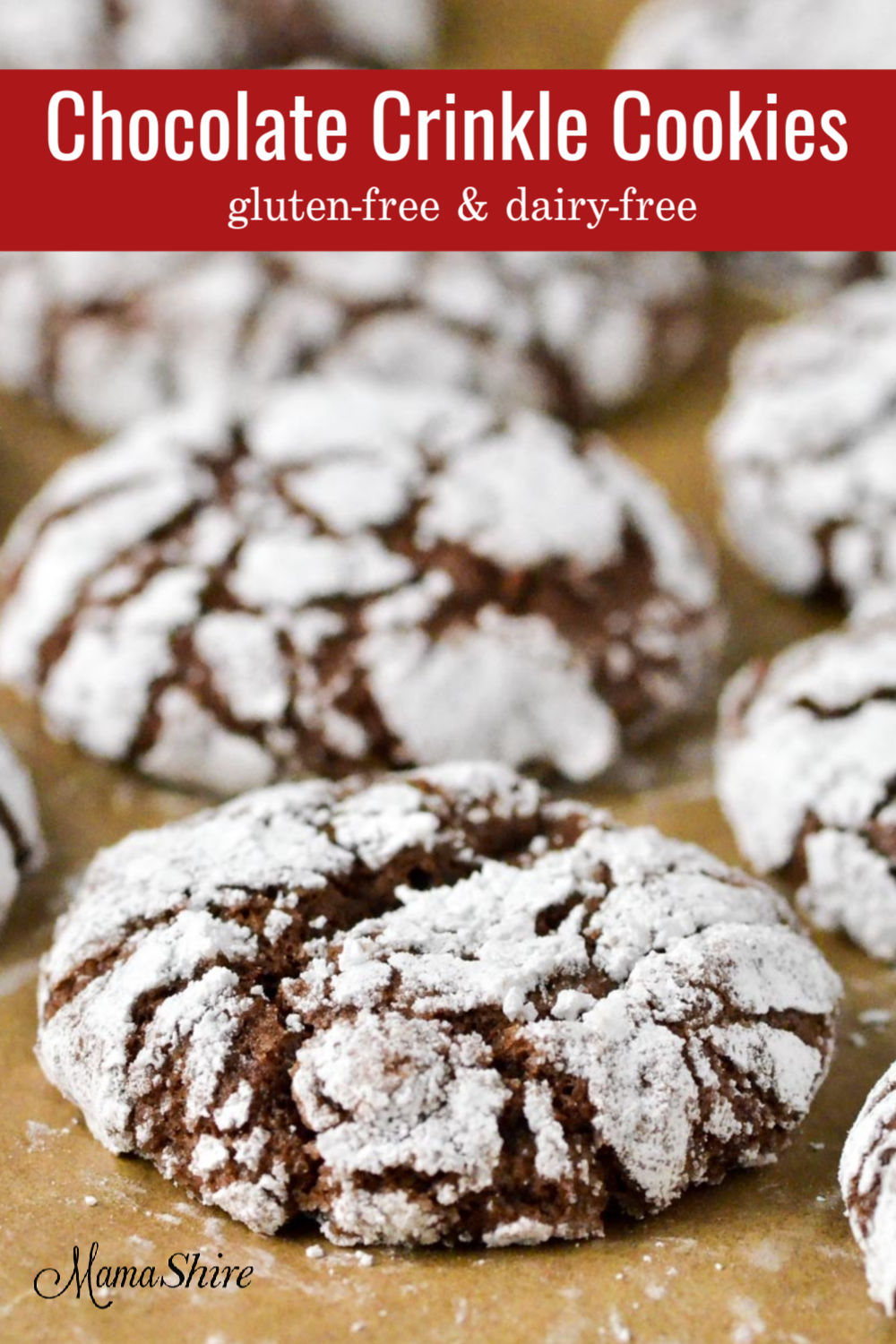 Powdered sugar covered gluten-free cookies.
