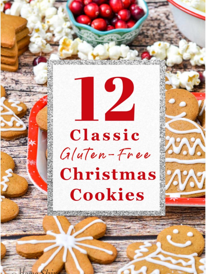 A collection of pictures of gluten-free Christmas Cookies.